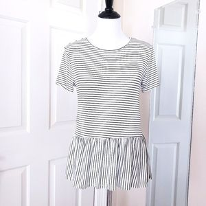 NWT Live in the Moment Striped Peplum Blouse